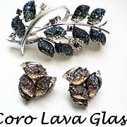 Coro Iridescent Lava Glass Brooch & Earrings