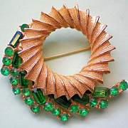 Emerald Green Circle Brooch by BSK