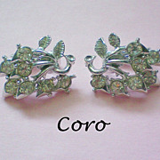 Coro Silver tone Rhinestone Clip Earrings