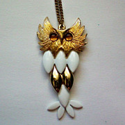 Gold & White Enameled Metal Articulated Owl Pendant