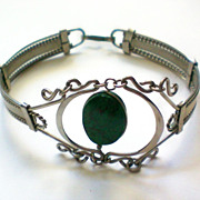 Intricate Silver & Malachite Bracelet