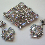 Huge Glittering Rhinestone Brooch & Dangle Earrings
