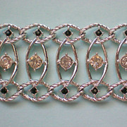 Emmons Rhinestone Silver tone Chain Link Bracelet
