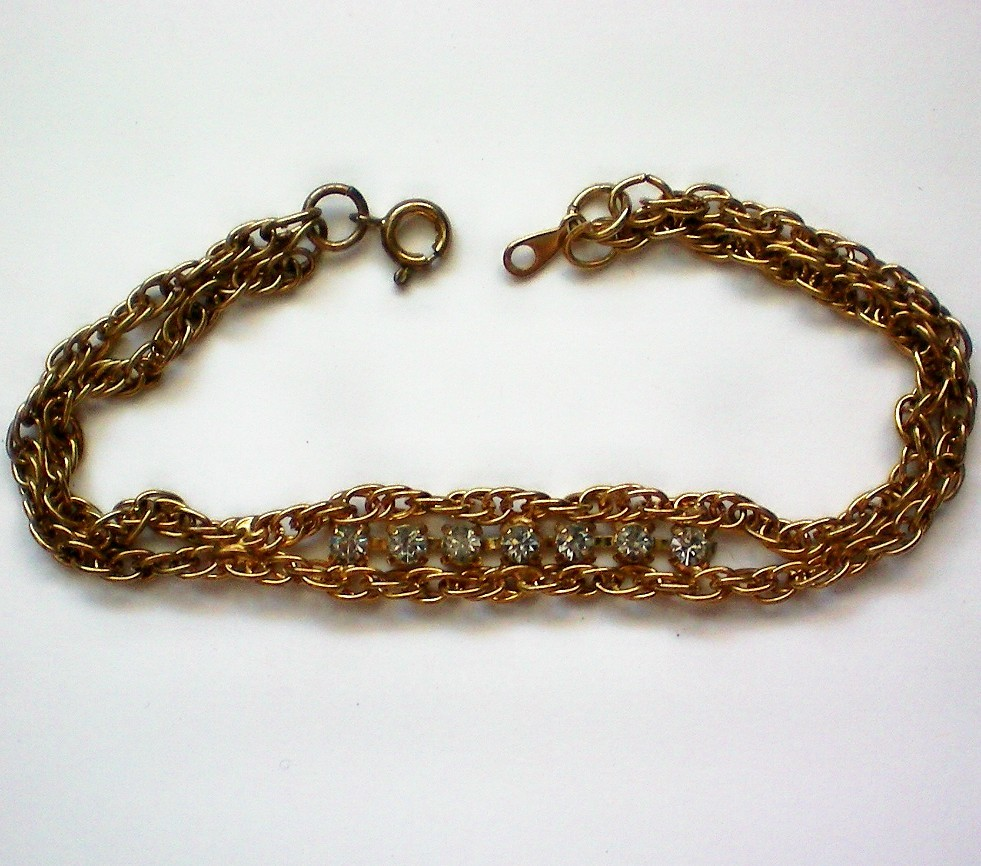 Delicate Chain and Rhinestone Bracelet from manorsfinest on Ruby Lane