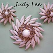 Judy Lee Milk Glass Brooch & Earrings