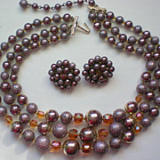 Triple Strand Bead Necklace & Earrings