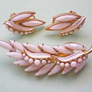 Milk Glass Spray Pin & Clip Earrings