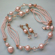 Beaded faux Pearl with AB Bead Necklace & Earrings Set