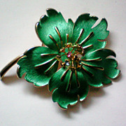 Enameled & Rhinestone Flower Brooch