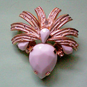 Fabulous  Milk Glass Spray Brooch