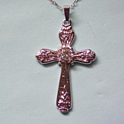 Sterling Silver 925 Crystal Cross Pendant by LIND