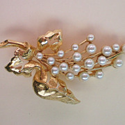 Floral Spray with Faux Pearls Brooch