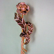 Damascene Rose Pin with Simulated Pearl
