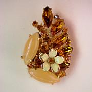 Amber & Moonstone Rhinestone Flower Brooch