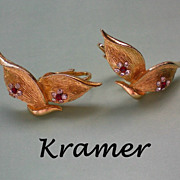 Signed Gold Plated Kramer Book Earrings
