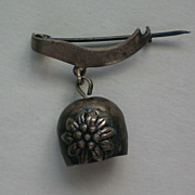 Musical Swiss Bell Charm Pendant Pin, circa 1940's
