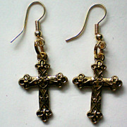 Gold tone Cross Pierced Earrings