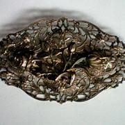 Brass Floral Art Nouveau Sash Pin
