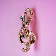 Rhinestone Treble Clef Pin