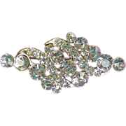 Beautiful Clear Rhinestone Brooch in Pot Metal