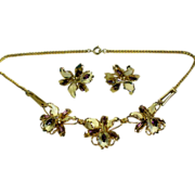 Enamel & Rhinestone Orchid Necklace with Earrings