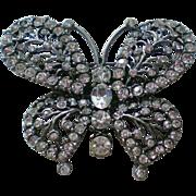 Clear Rhinestone Pot Metal Butterfly Pin