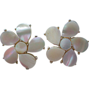Mother of Pearl Flower Clip Earrings