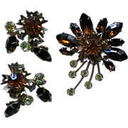 Amber, Brown & Pale Green Rhinestone Brooch / Earrings