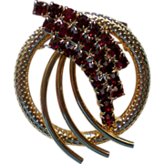 Ruby Red Rhinestone Circle Pin