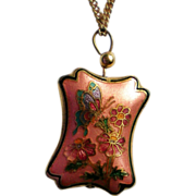 Damascene Butterfly Puff Pendant
