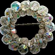 Aurora Borealis Crystal Circle Brooch