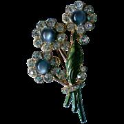 Moon Stone Pot Metal Rhinestone Flower Bouquet Brooch
