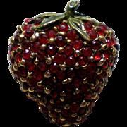 Ruby Red Pave Rhinestone Strawberry Fruit Pin