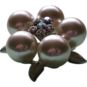 Large Faux Pearl Cluster Pin