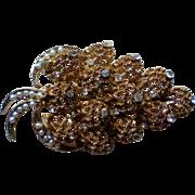 Filigree Leaf Brooch with Seed Pearls and Rhinestones