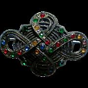 Geometric Design Pot Metal Brooch unsigned Little Nemo