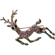 Reindeer Pin with Pave' Crystals / Christmas by Danecraft