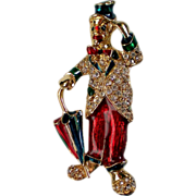 Enameled Hobo Clown with Umbrella Pin