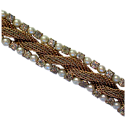 Simulated Gold Rope Pearl and Rhinestone Bracelet