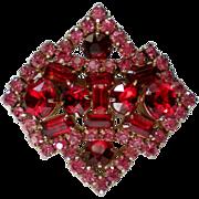 Red and Pink Rhinestone Brooch