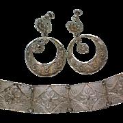 Delicate Silver Lace Filigree Bracelet & Earrings