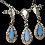 Blue and White Milk Glass Pendant & Earrings