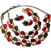 Molded Glass Autumn Leaves Fruit Salad Parure