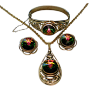 Whiting & Davis Watermelon Rivoli Pendant,Bracelet, & Earrings
