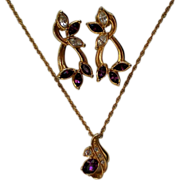 "Avon ""Faux Amethyst"" Pierced Earrings & Pendant Necklace"