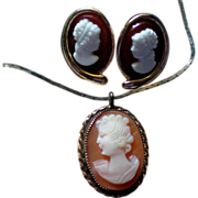 Cameo Pendant with Pierced Cameo Earrings