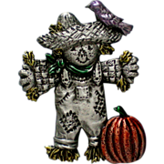 Halloween Scarecrow with Pumpkin Pin