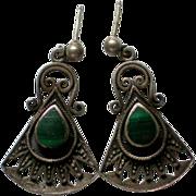 Sterling Malachite Pierced Earrings