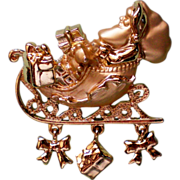 Signed Dancraft Santa Sleigh Pin with Bows & Presents