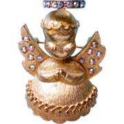 Dodds Christmas Angle Pin with Rhinestone Halo & Wings